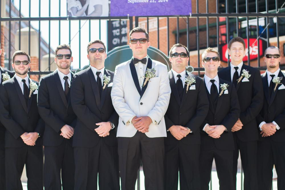 I get a kick out of this one because the groom thought pocket watches would be such a cool groomsmen gift, but the bride did not want them wearing these during the ceremony. Guess what? They did it anyway.