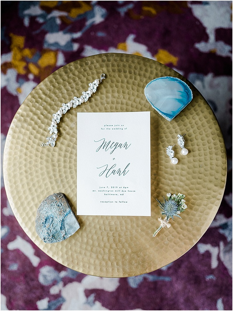 A agate themed urban wedding at the Mt. Washington Mill Dye House in Baltimore, Maryland.