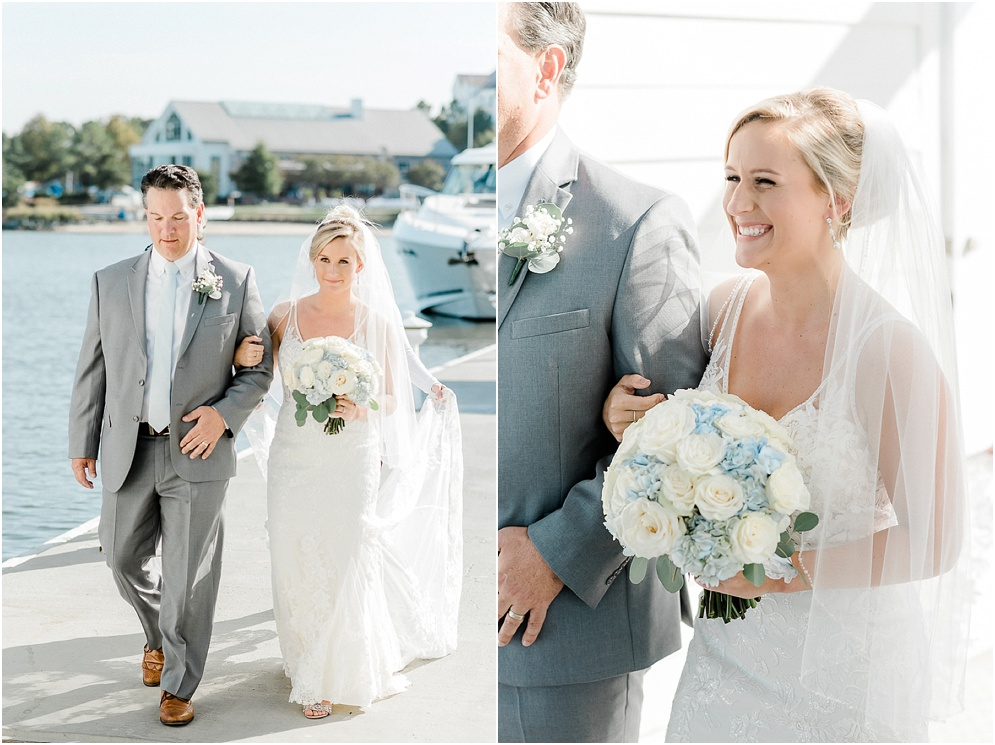 A wild Hyatt wedding where the ceremony took place on a dock on the Choptank River in Cambridge, Maryland.