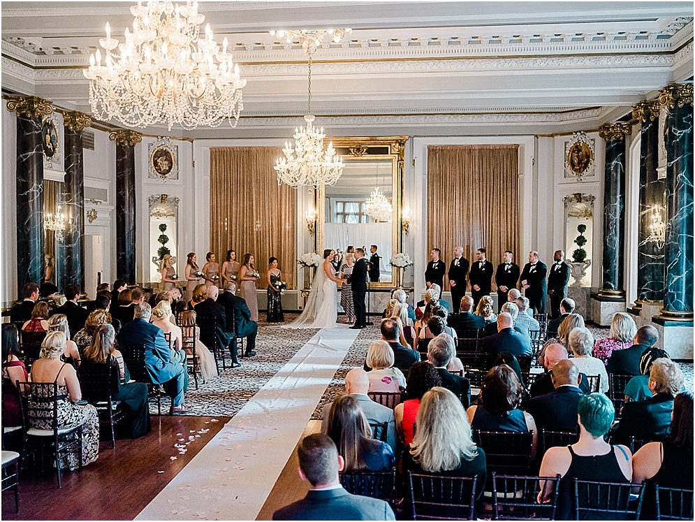 A black and gold Great Gatsby themed wedding at the Belvedere Hotel in Baltimore, Maryland.